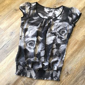 Maurices black and White sheer rose blouse